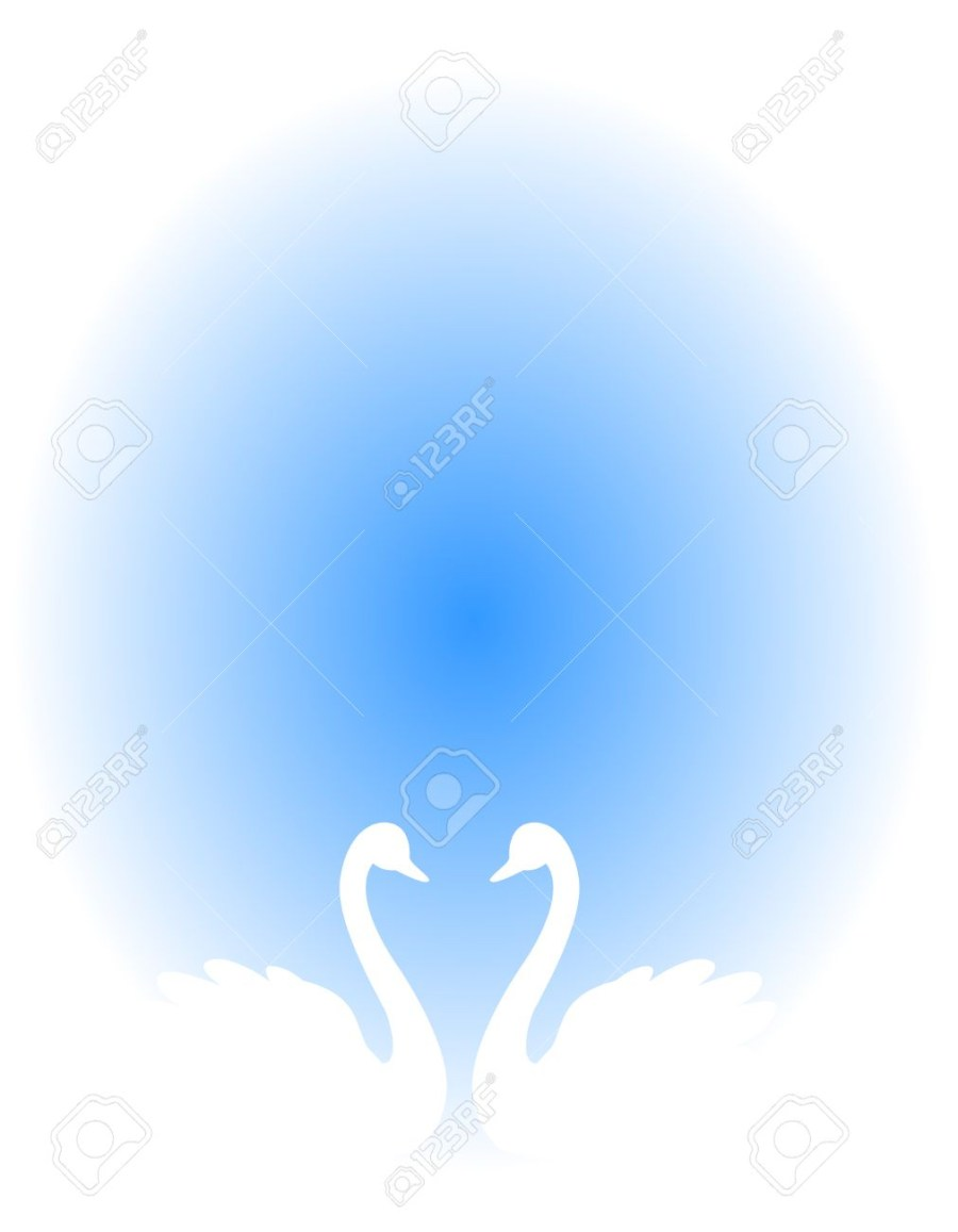 Wedding Invitation Background Blue White Swan Couple In Love Illustration Isolated On Blue Background
