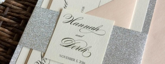 Wedding Invitation Belly Band Silver Glitter Wedding Invitation With Glitter Belly Band Silver