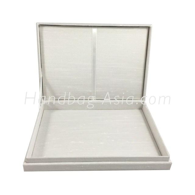 Wedding Invitation Boxes Off White Plain Silk Wedding Invitation Box With Hinged Lid