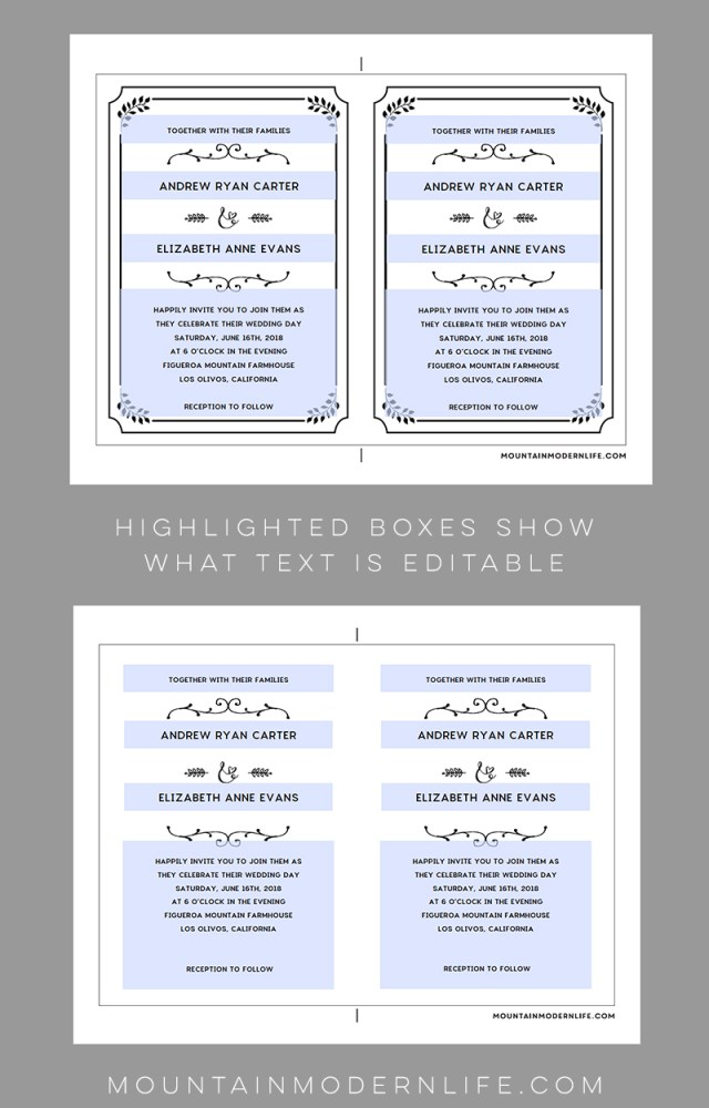 Wedding Invitation Editable Template Printable Diy Wedding Invitation Template Mountainmodernlife