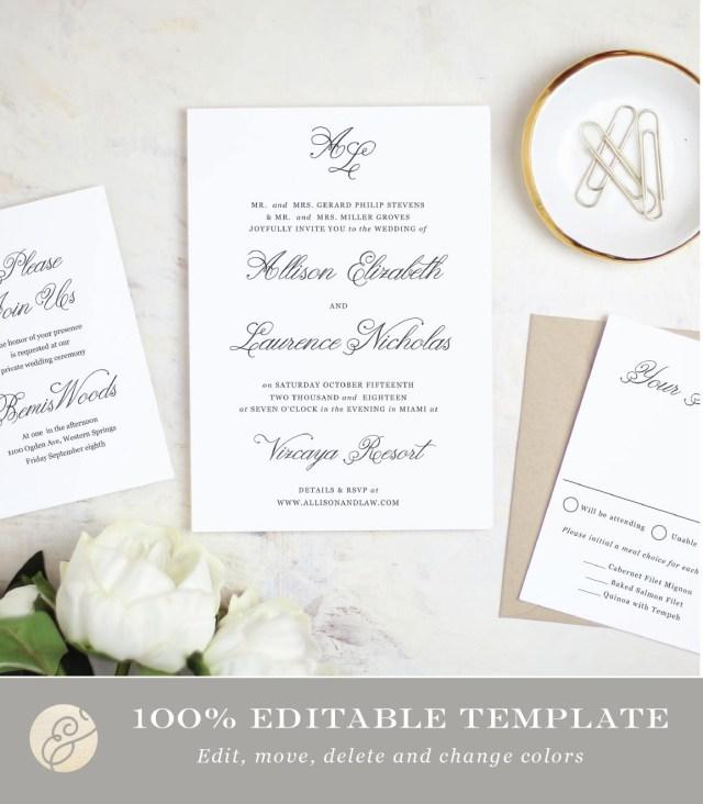 Wedding Invitation Editable Template Printable Wedding Invitation Template Simple Script Word Or