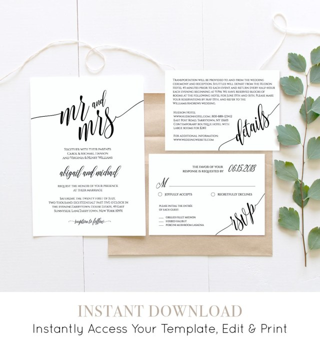Wedding Invitation Editable Template Wedding Invitation Template Instant Download Rustic Modern Wedding