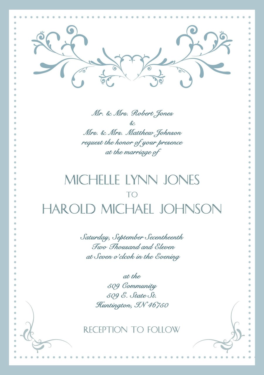 Wedding Invitation Examples Sample Wedding Invitation Cards In English Wedding Invitations