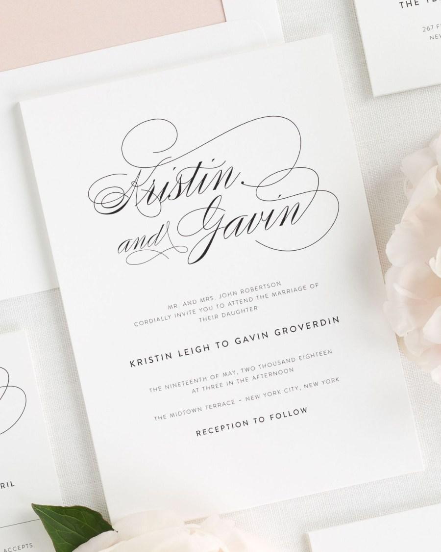 Wedding Invitation Examples Script Elegance Wedding Invitations Wedding Invitations Shine