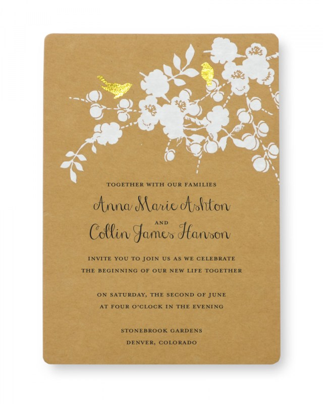 Wedding Invitation Images Print At Home Invitation Kit Gold Foil Birds Gartner Studios