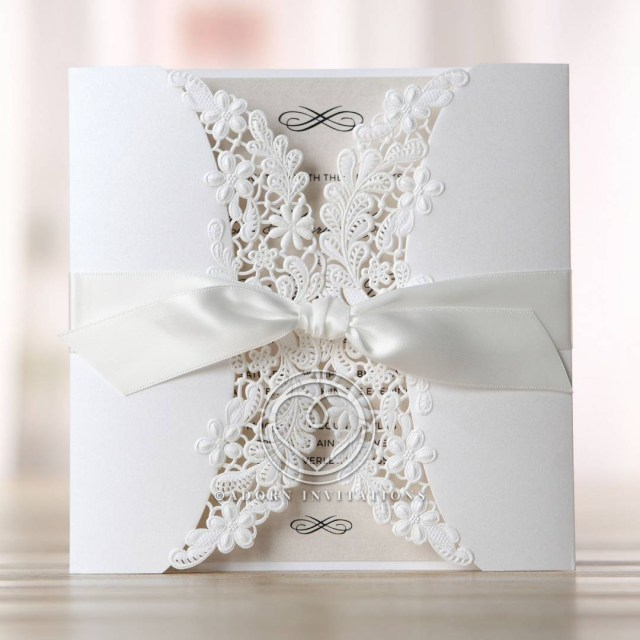 Wedding Invitation Pictures Embossed And Laser Cut Gate Fold Wedding Invitation Floral De