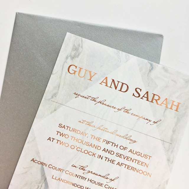 Wedding Invitation Pictures Grey Marble And Copper Wedding Invitation Claryce Design