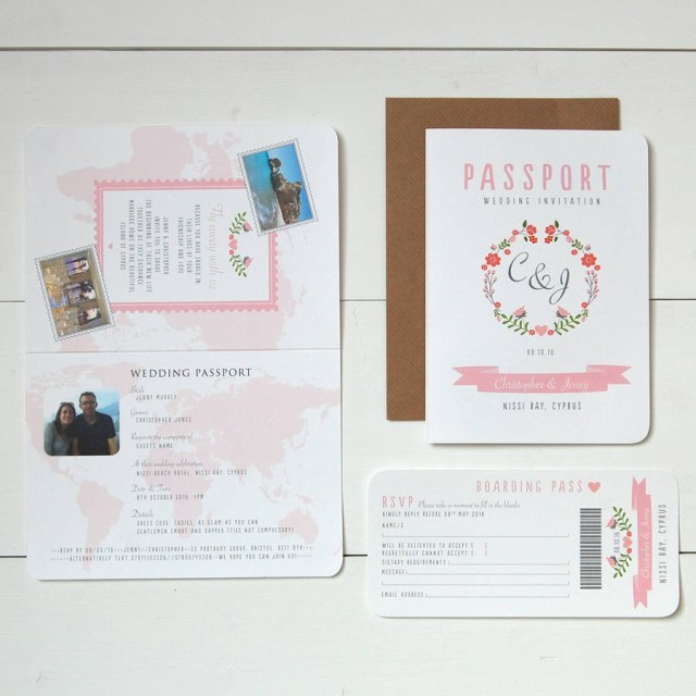 Wedding Invitation Rsvp Floral Passport To Love Wedding Invitation And Rsvp Ditsy Chic