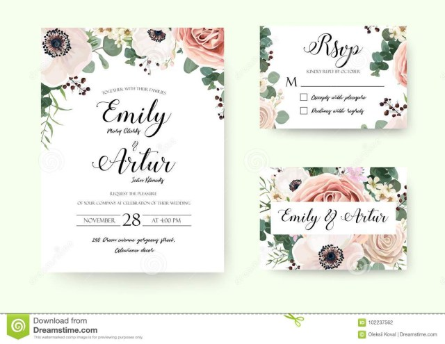 Wedding Invitation Rsvp Wedding Invitation Floral Invite Rsvp Cute Card Vector Designs S