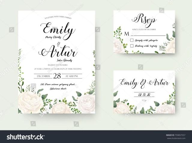 Wedding Invitation Rsvp Wedding Invitation Floral Invite Rsvp Cute Stock Vektorgrafik