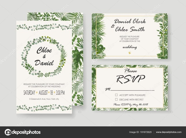 Wedding Invitation Rsvp Wedding Invitation Rsvp Modern Card Design Vector Natural Bot