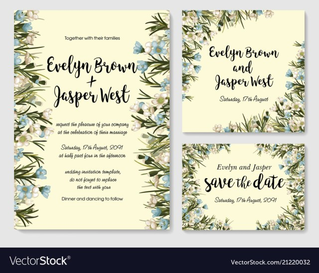 Wedding Invitation Rsvp Wedding Invite Invitation Rsvp Save The Date Vector Image