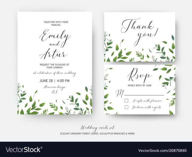 Wedding Invitation Rsvp Wedding Invite Invitation Rsvp Thank You Cards Vector Image
