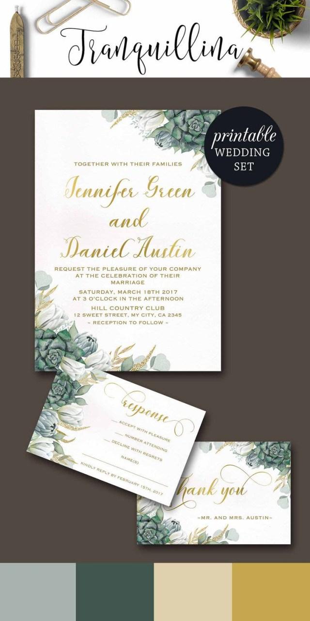 Wedding Invitation Sets Floral Wedding Invitation Printable Succulent Wedding Invitation Set