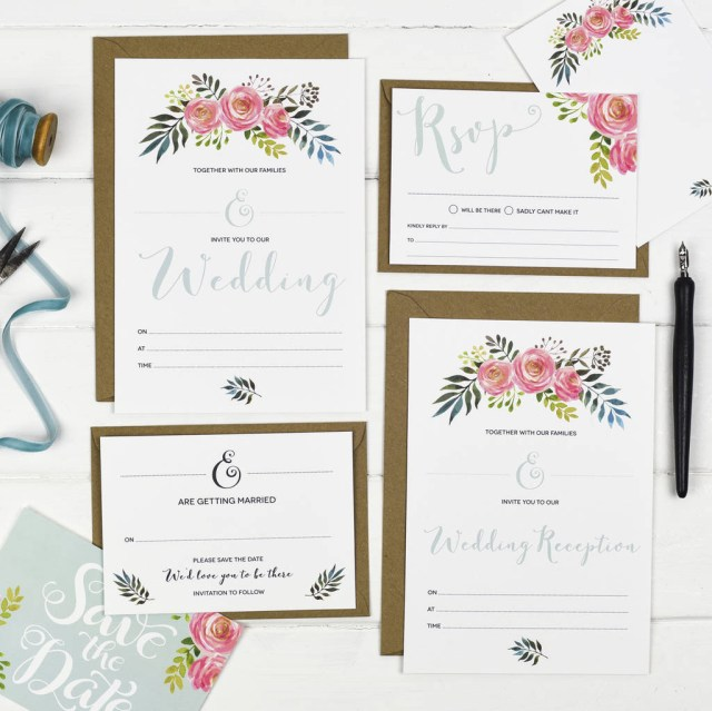 Wedding Invitation Sets Floral Write Your Own Wedding Invitation Set Russet And Gray