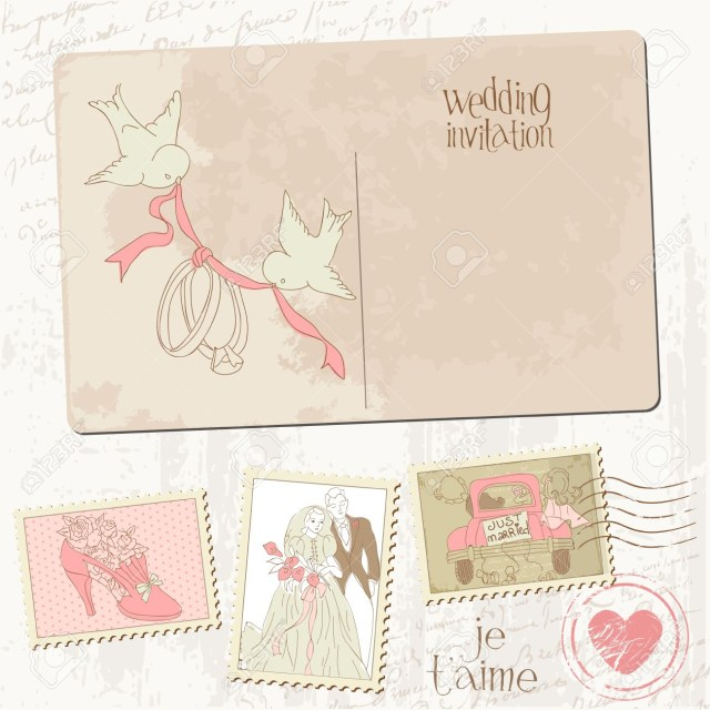 Wedding Invitation Stamps Vintage Postcard And Postage Stamps For Wedding Design Invitation