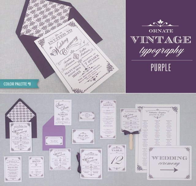 Wedding Invitation Suites Diy Vintage Wedding Invitation Suite In Purple