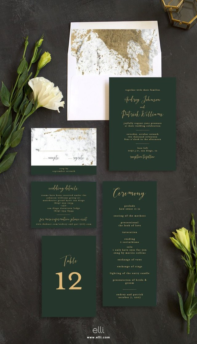 Wedding Invitation Suites Marble And Gold Wedding Invitation Suite With Stunning Green Touches