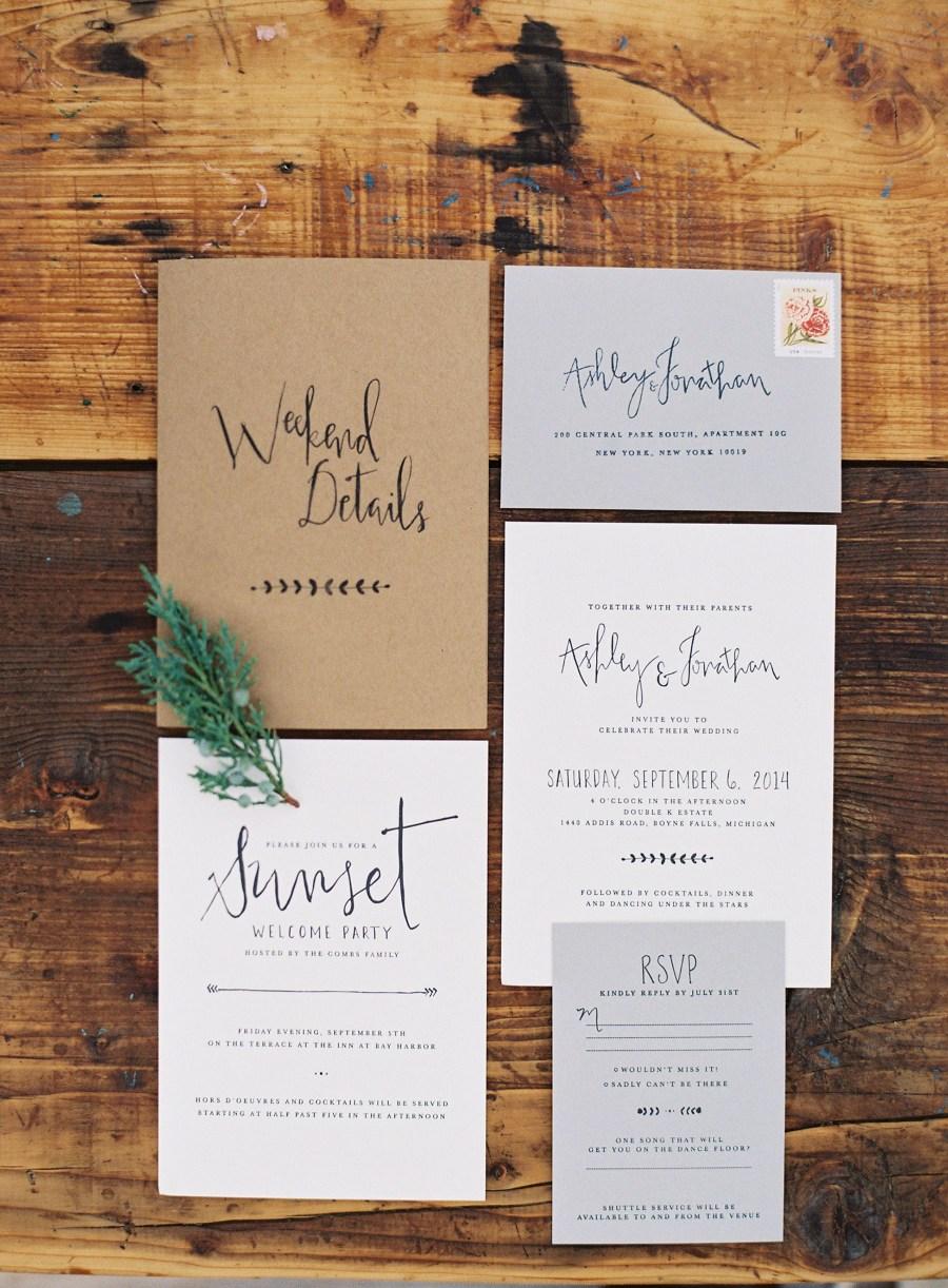 Wedding Invitation Suites Rustic Chic Estate Wedding In Northern Michigan Wedding