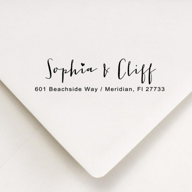 Wedding Invitations Addressing Return Address Calligraphy Stamp Envelope Addressing Couples