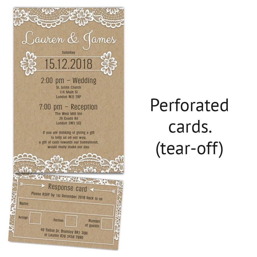 Wedding Invitations And Response Cards Wedding Invitation Cards Kraft Paper With Rsvp Tear Off
