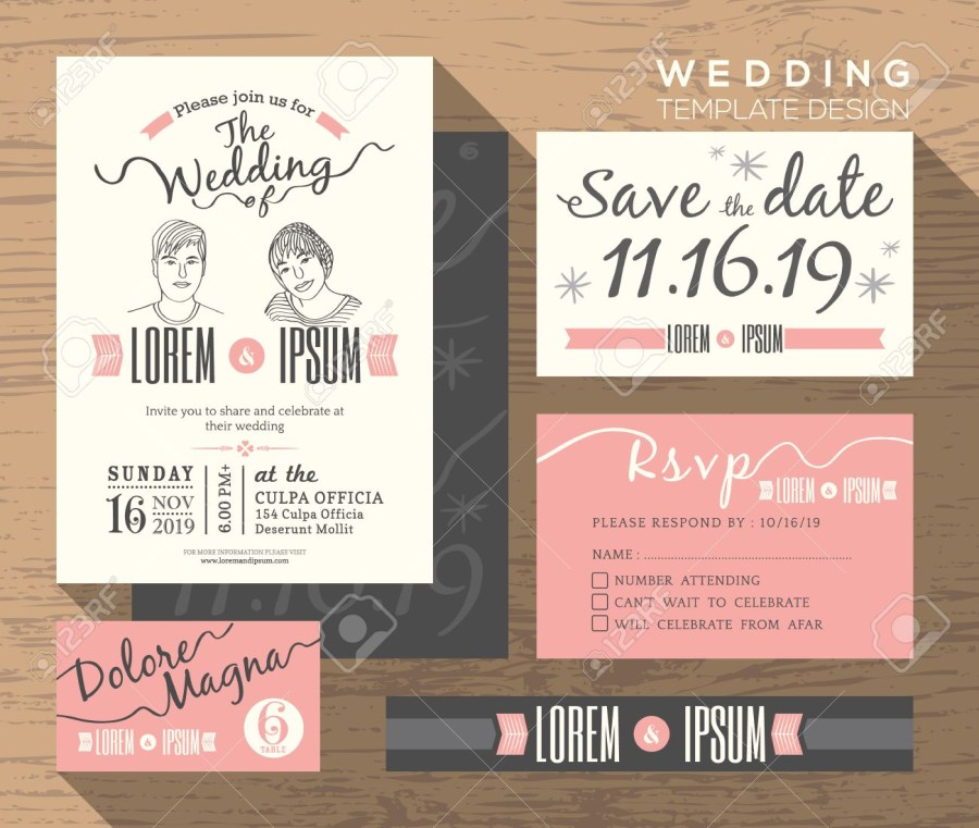 Wedding Invitations And Response Cards Wedding Invitation Set Design Template Vector Place Card Response