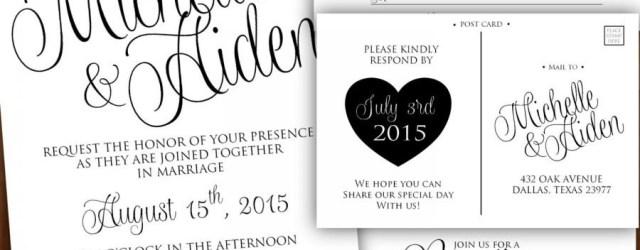 Wedding Invitations Black And White Printable Wedding Invitation Calligraphy Wedding Invitation