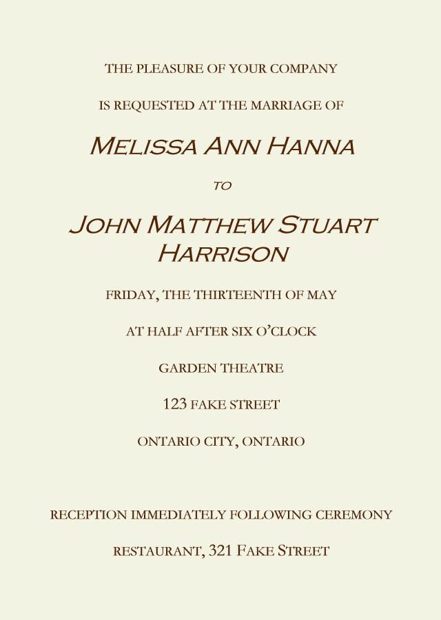Wedding Invitations Free Samples Invitations Sample Wedding Invitation Sample Of Wedding