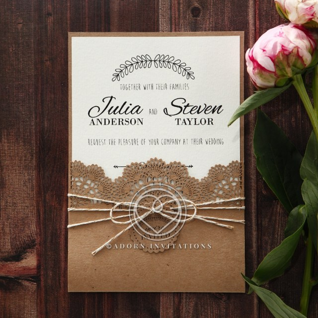 Wedding Invitations On Kraft Paper Country Wedding Rustic Twine And Craft Paper Laser Cut