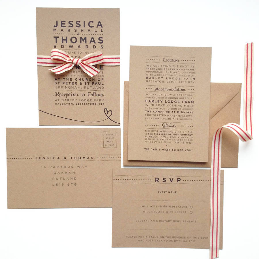 Wedding Invitations On Kraft Paper Henley Rustic Kraft Wedding Stationery Set Megan Claire