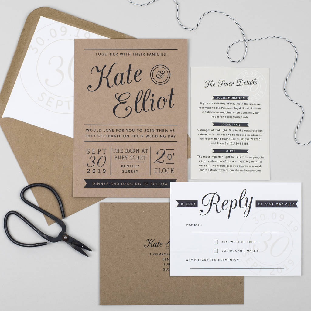 Wedding Invitations On Kraft Paper Kraft Stamp Wedding Invitation Pear Paper Co