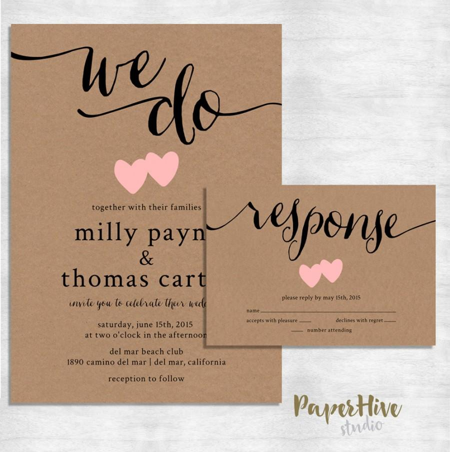 Wedding Invitations On Kraft Paper Rustic Wedding Invitation Kraft Paper Wedding Invite Set Modern