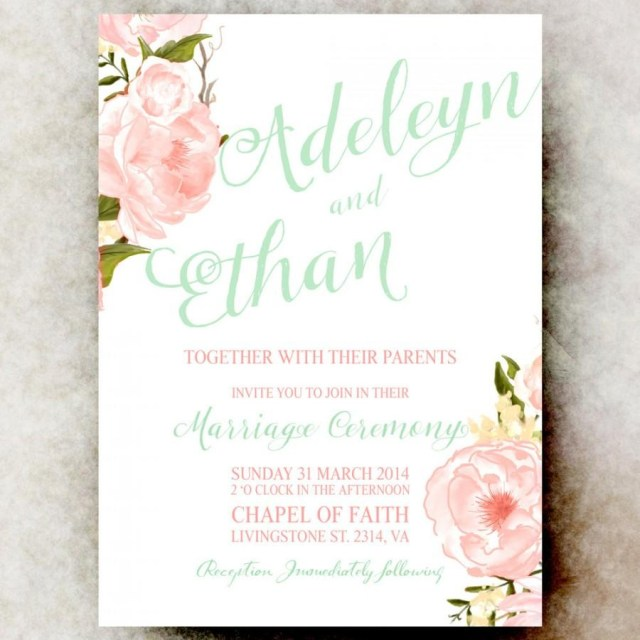 Wedding Invitations Printable Mint Green Coral Wedding Invitation Floral Wedding Invitation