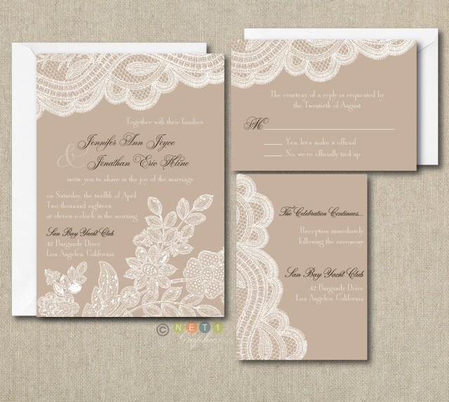 Wedding Invitations Sets 100 Personalized Custom Rustic Vintage Lace Wedding Invitations Set