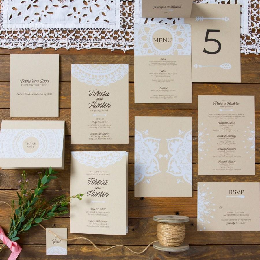 Wedding Invitations Sets Boho Chic Wedding Invitation Sets White Opaque Ink On Craft Card