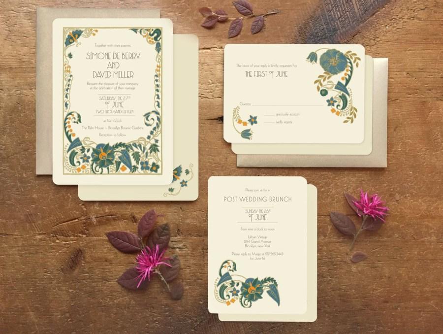 Wedding Invitations Sets Greenery Wedding Invitation Art Deco Wedding Invitation Wedding
