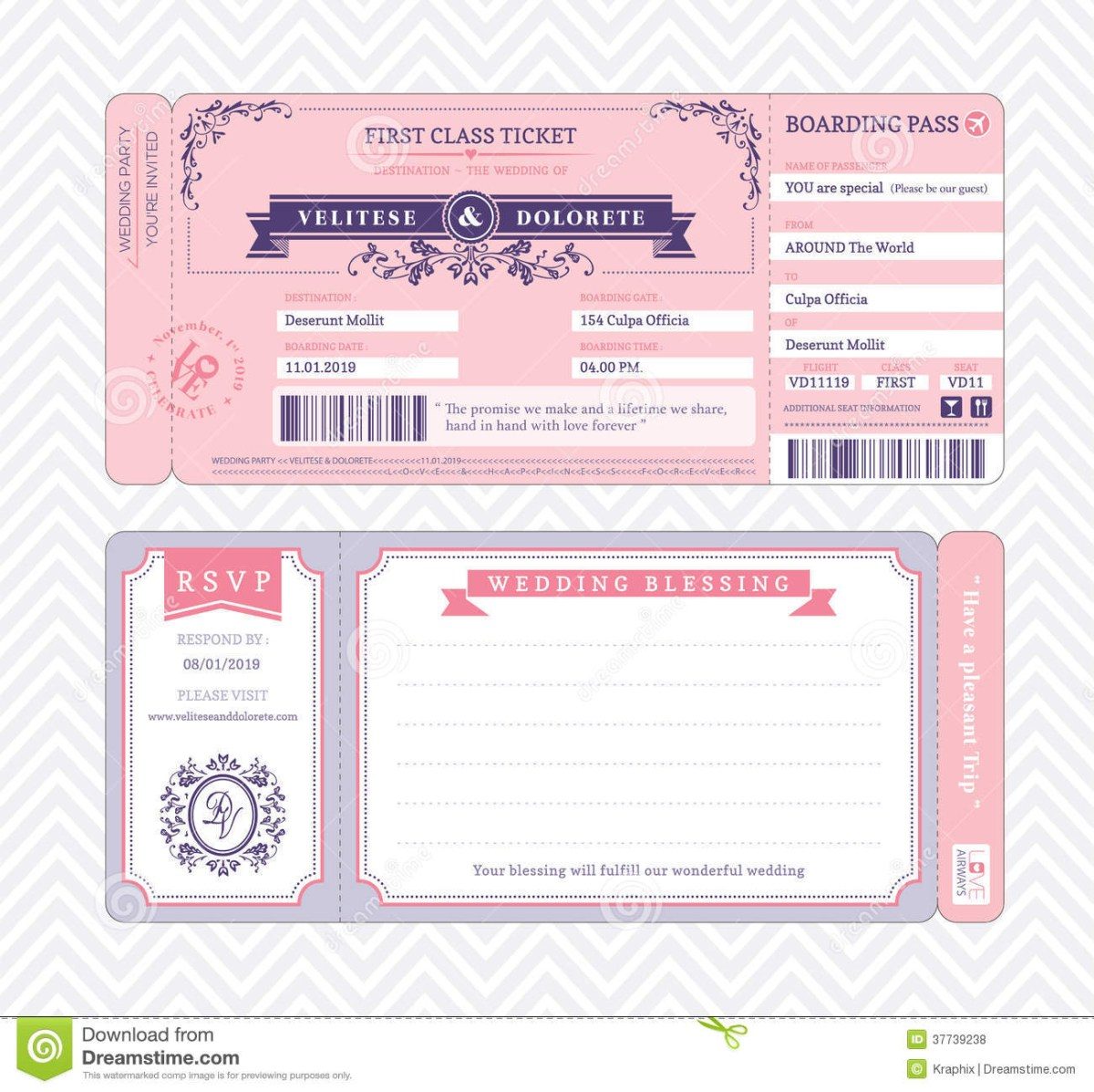 Wedding Invitations Template Boarding Pass Wedding Invitation Template Stock Vector