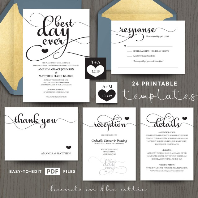 Wedding Invitations Templates Best Day Ever Wedding Invitation Templates Printable Stationery