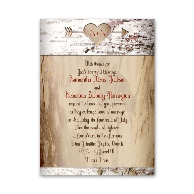 Wedding Invitations With Photo Aged Birch Petite Invitation Anns Bridal Bargains