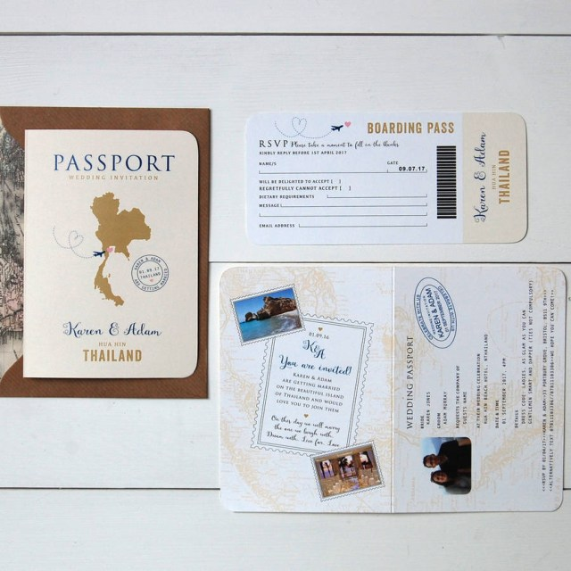 Wedding Invitations With Rsvp All About Travel Passport Wedding Invitation And Rsvp Ditsy Chic
