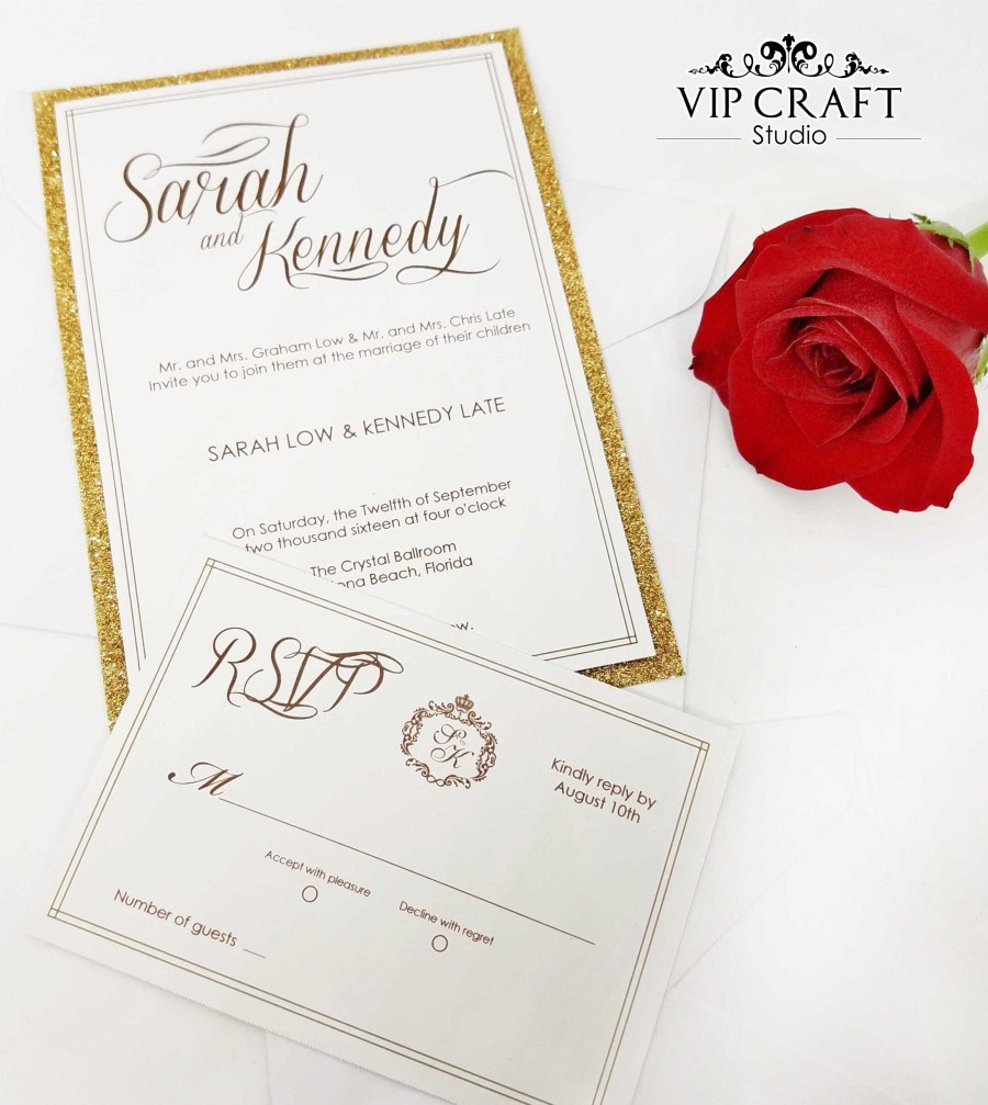 Wedding Invitations With Rsvp Gold Glitter Wedding Invitations Rsvp Set Of 10 Vip Craft Studio