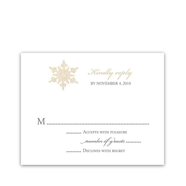 Wedding Invitations With Rsvp Snowflake Winter Wedding Rsvp Cards Gold Accents Elegant Style