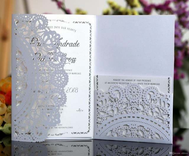 Wedding Invitations With Rsvp White Color Laser Cut Wedding Invitations Cards With Rsvp Cards