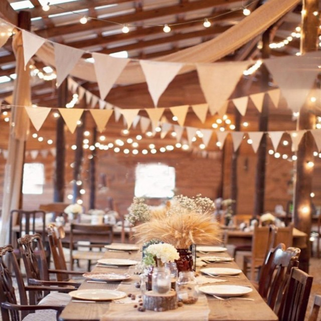 Wedding Party Decorations 13 Flags Bunting Banner Jute Rustic Hessian Burlap Bunting Banner