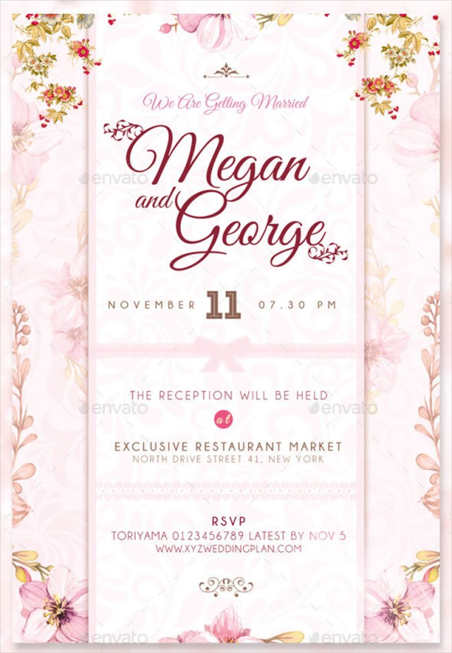 Wedding Reception Invitation 17 Classic Wedding Reception Invitation Designs And Examples Psd Ai