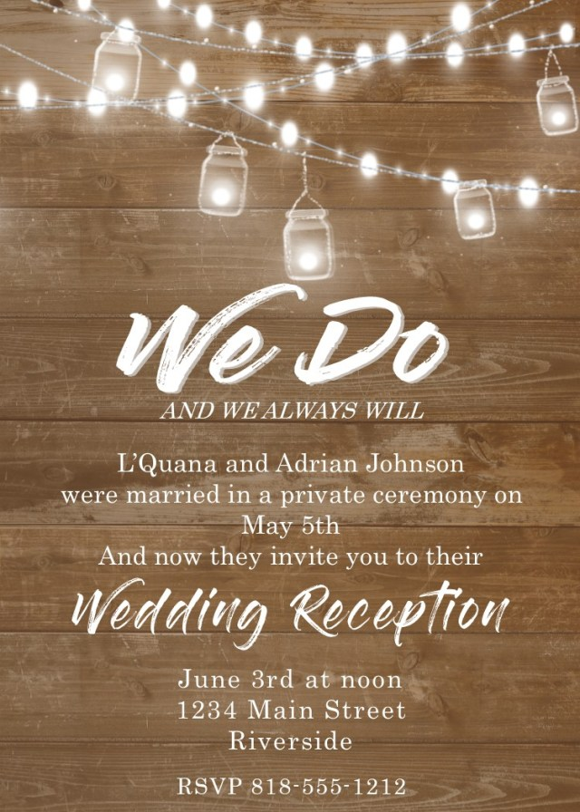 Wedding Reception Invitation Elopement Party Invitations Reception Only Invitations