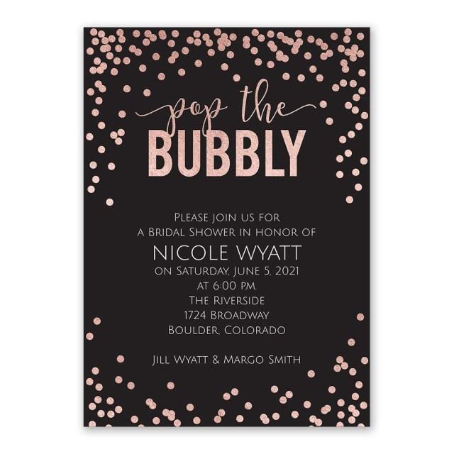 Wedding Shower Invites Pop The Bubbly Foil Bridal Shower Invitation Invitations Dawn