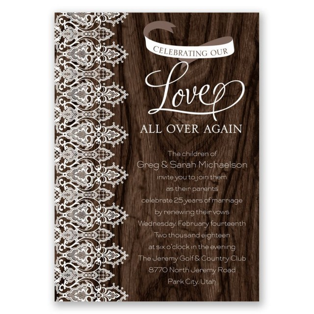 Wedding Vow Renewal Invitations Love And Lace Vow Renewal Invitation Invitations Dawn
