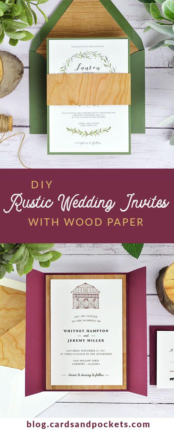 Woodsy Wedding Invitations 4 Ways To Diy Rustic Wedding Invitations With Wood Paper Pinterest