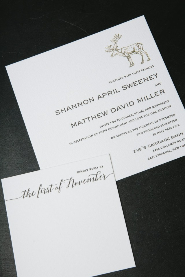 37b8bfee5dc Woodsy Wedding Invitations Black Letterpress Gold Foil Modern Woodsy  Wedding Invitations